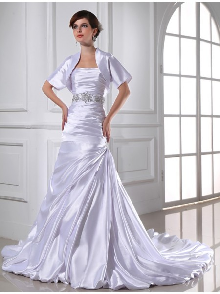 Trumpet/Mermaid Strapless Applique Elastic Woven Satin Wedding Dress