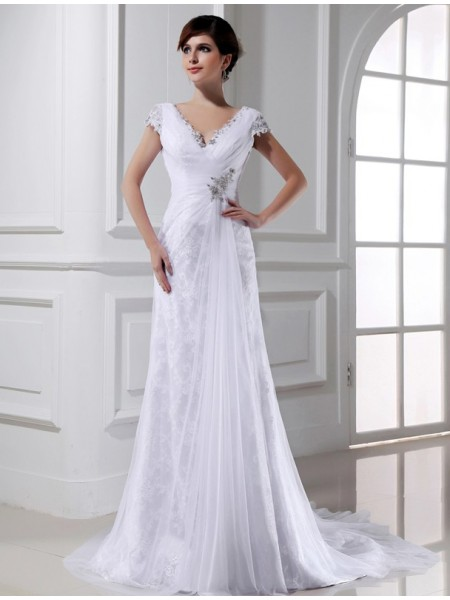 A-Line/Princess V-neck Long Tulle Wedding Dress