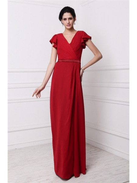 Sheath/Column V-neck Pleats Chiffon Bridesmaid Dress