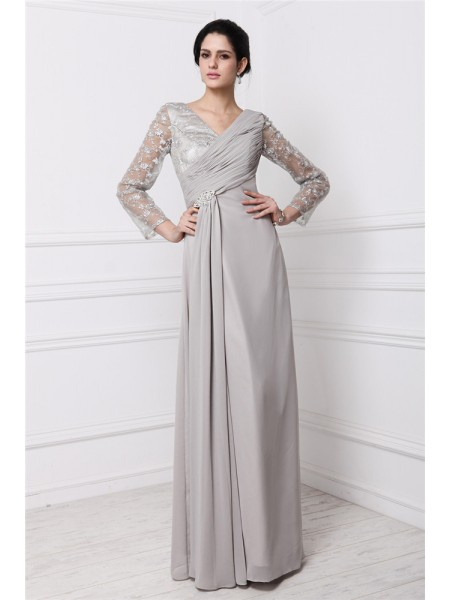 Sheath/Column V-neck Long Sleeves Lace Chiffon Dress