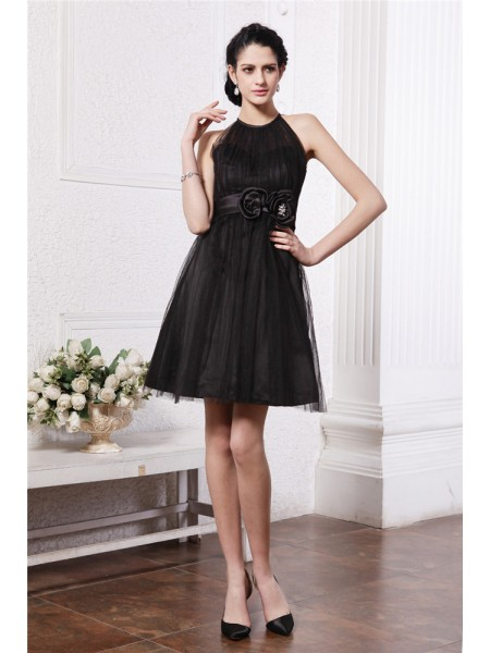 A-Line/Princess Scoop Short Net Cocktail Dress