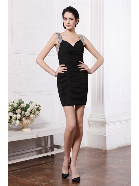 Sheath/Column Straps Short Chiffon Cocktail Dress