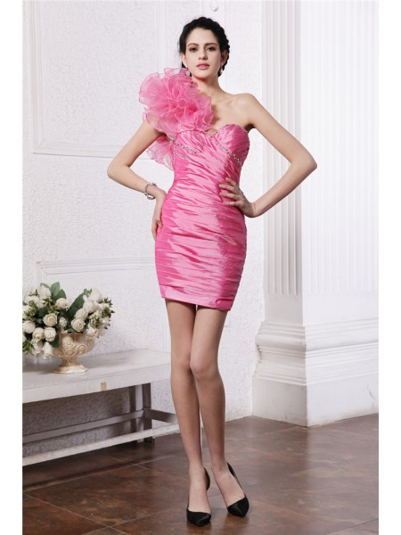 Sheath/Column One-Shoulder Ruffles Taffeta Cocktail Dress