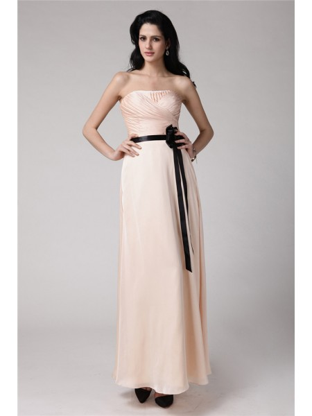 Sheath/Column Strapless Sash Elastic Woven Satin Chiffon Bridesmaid Dress