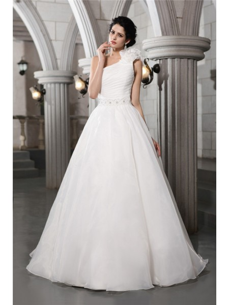 A-Line/Princess One-Shoulder Long Organza Wedding Dress