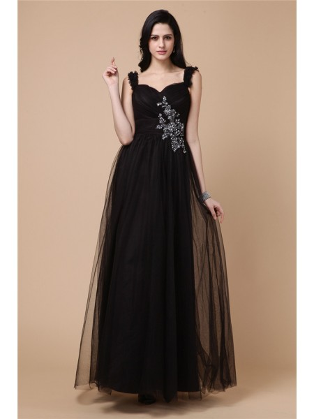 A-Line/Princess Straps Applique Net Dress