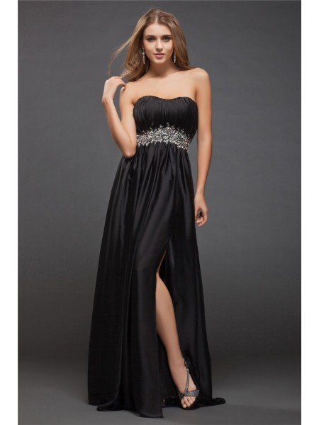 Sheath/Column Sweetheart Long Charmeuse Bridesmaid Dress