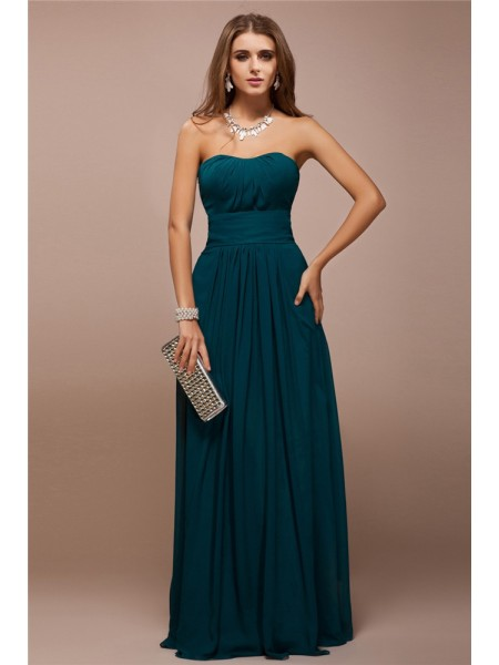 Sheath/Column Sweetheart Ruffles Long Bridesmaid Dress