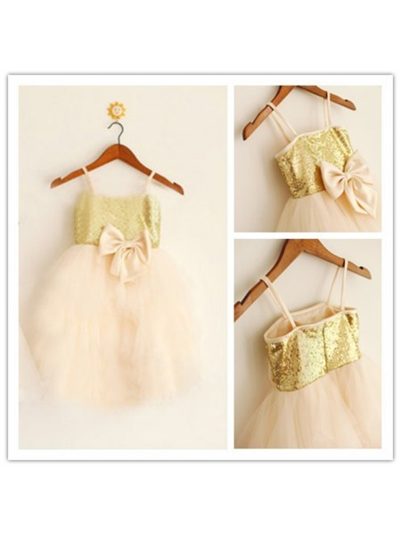 A-Line/Princess Spaghetti Straps Sequin Flower Girl Dress with Tulle