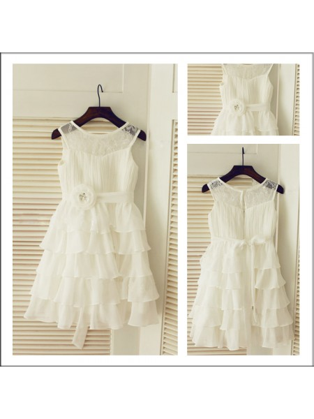 A-Line/Princess Scoop Layers Flower Girl Dress with Chiffon