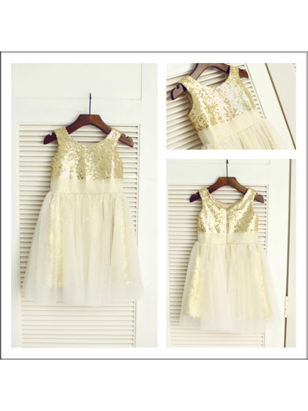 A-Line/Princess Scoop Flower Girl Dress with Sequin