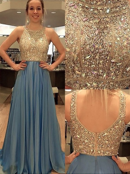 A-Line/Princess Sleeveless Scoop Chiffon Beading Sweep/Brush Train Dresses
