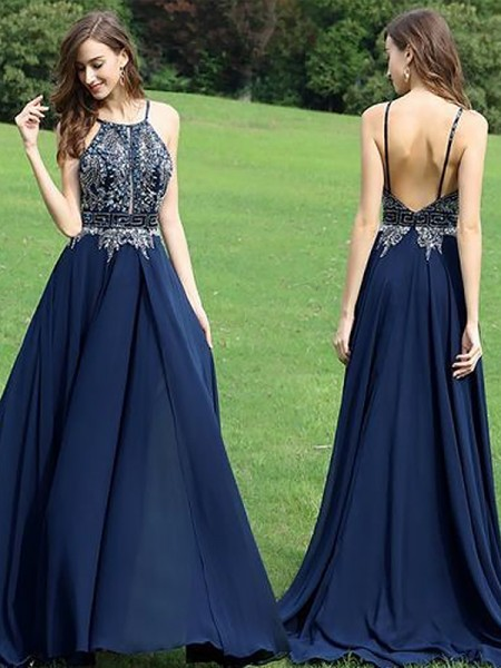 0a55f6261ee A-Line Princess Sleeveless Halter Chiffon Beading Floor-Length Dresses
