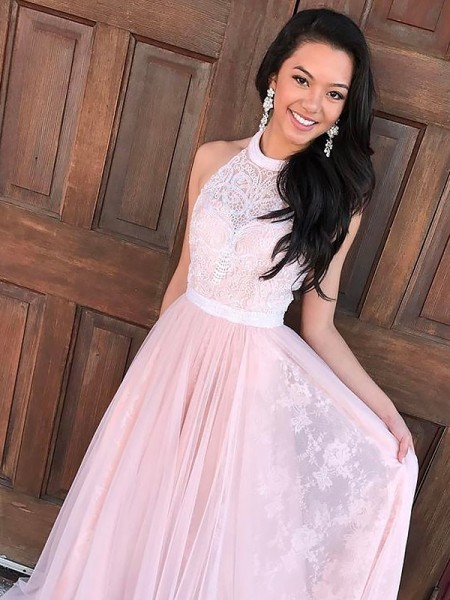 A-Line/Princess Halter Tulle Sweep/Brush Train Dress with Lace