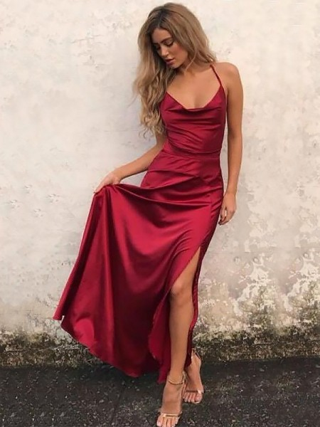A-Line Spaghetti Straps Floor-Length With Ruffles Satin Dress