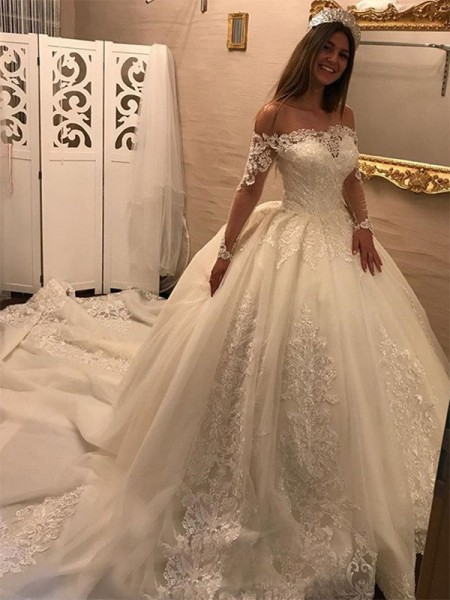 Ball Gown Long Sleeves Cathedral Train Applique Tulle Wedding Dress
