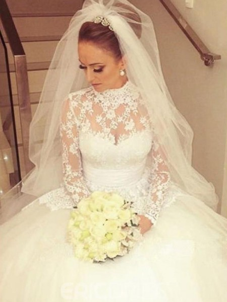 Ball Gown Long Sleeves Sweep/Brush Train Lace Wedding Dress