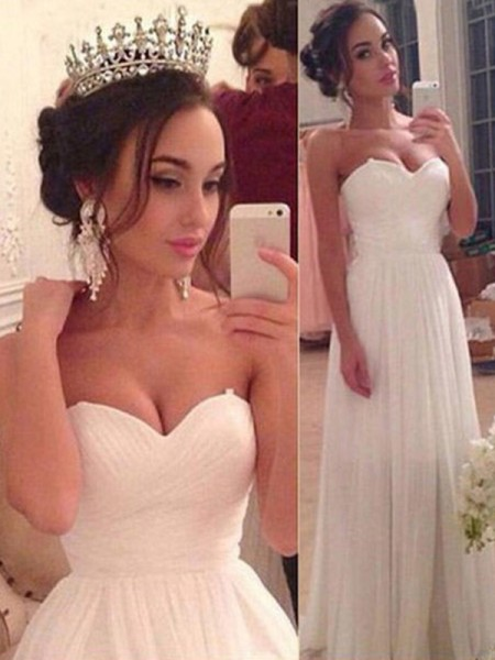 A-Line/Princess Sweetheart Sleeveless Chiffon Floor-Length Wedding Dress