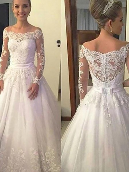 Ball Gown Tulle Long Sleeves Court Train Wedding Dress