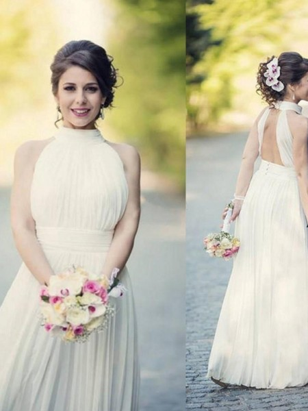 A-Line/Princess Halter Sleeveless Tulle Floor-Length Wedding Dress