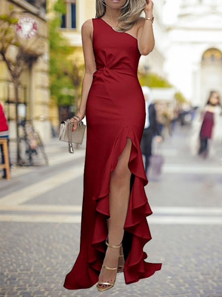 Sheath/Column One-Shoulder Sweep/Brush Train Ruffles Silk like Satin Dresses