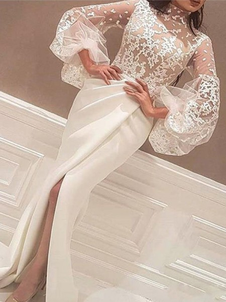 Trumpet/Mermaid Long Sleeves High Neck Sweep/Brush Train Lace Stretch Crepe Dresses