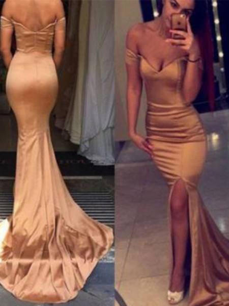 Trumpet/Mermaid Sleeveless Off-the-Shoulder Court Train Satin Dresses