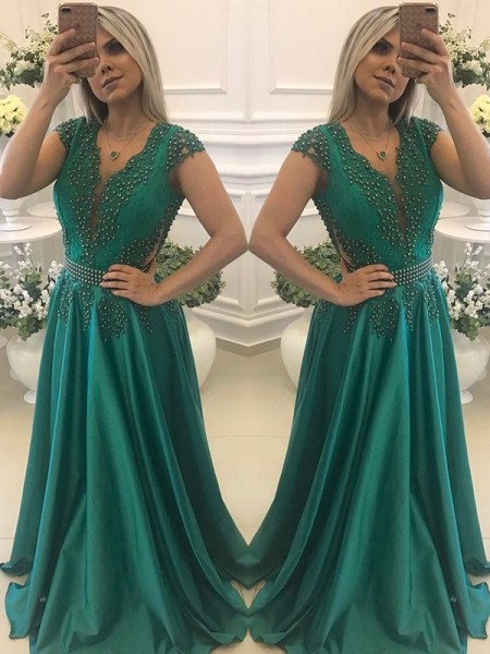 A-Line/Princess Short Sleeves V-neck Floor-Length Beading Satin Dresses