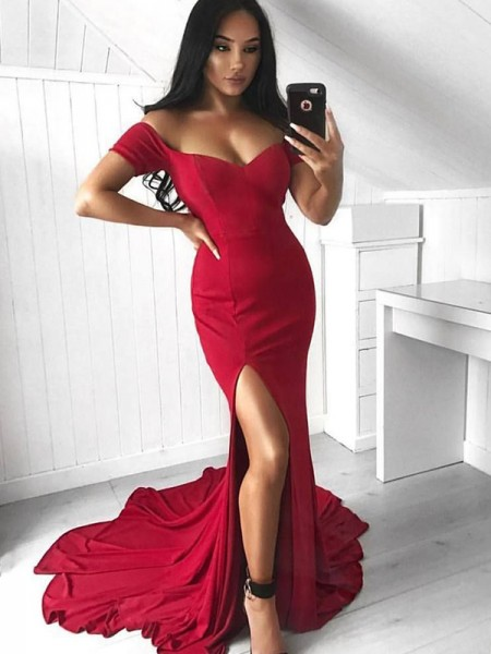 Trumpet/Mermaid Sleeveless Off-the-Shoulder Court Train Spandex Dresses