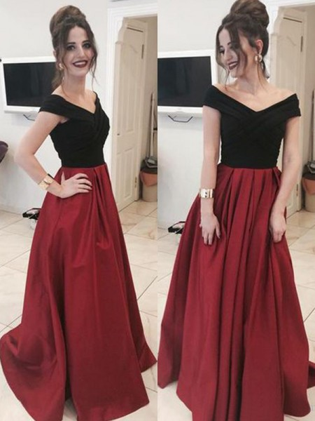 A-Line/Princess Sleeveless Off-the-Shoulder Ruffles Sweep/Brush Train Satin Dresses