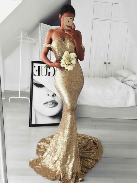 Trumpet/Mermaid Sleeveless Off-the-Shoulder Sequins Sweep/Brush Train Ruffles Dresses