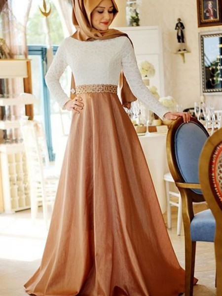 A-Line/Princess Long Sleeves Sweep/Brush Train Scoop Lace Satin Muslim Dresses