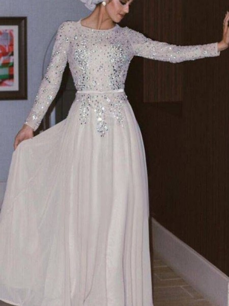 A-Line/Princess Long Sleeves Floor-Length Scoop Crystal Chiffon Muslim Dresses