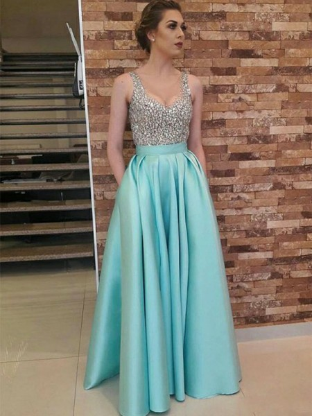 A-Line/Princess Sleeveless Floor-Length V-neck Beading Satin Dresses