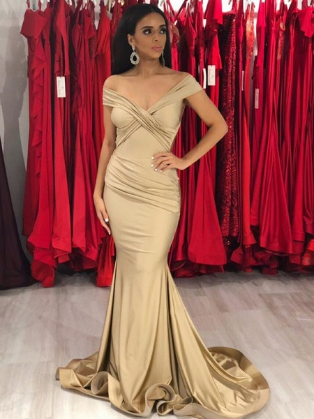 Trumpet/Mermaid Sleeveless Off-the-Shoulder Sweep/Brush Train Ruffles Satin Dresses