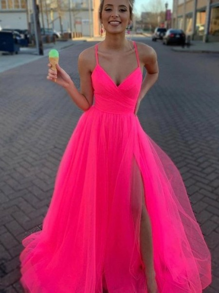 Voiced Vivacity A-Line Sleeveless Tulle V-neck Ruched Sweep/Brush Train Evening/Prom Dresses