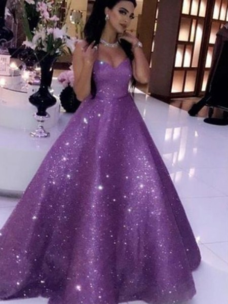 Ball Gown Sequins Sweetheart Neckline Sleeveless Ruffles Long Evening/Prom Dresses