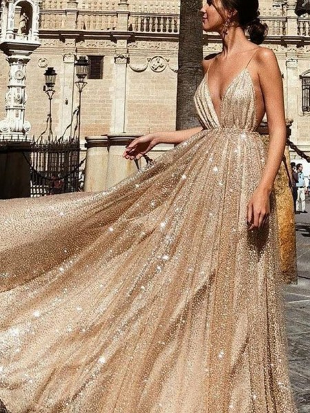 A-Line V-neck Tulle Sleeveless Ruched Sweep/Brush Train Evening/Prom Dresses
