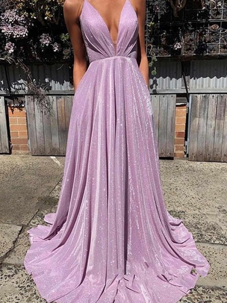 Star Gazing A-Line V-neck Satin Ruffles Sleeveless Sweep/Brush Train Evening/Prom Dresses