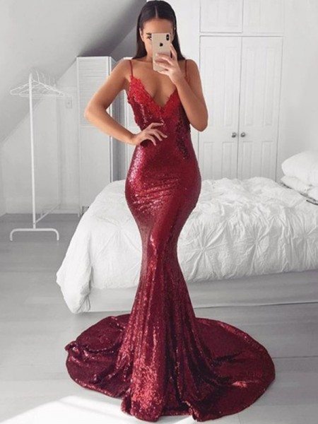 Double the Fun Mermaid/Trumpet V-neck Sequins Applique Sweep/Brush Train Sleeveless Dress