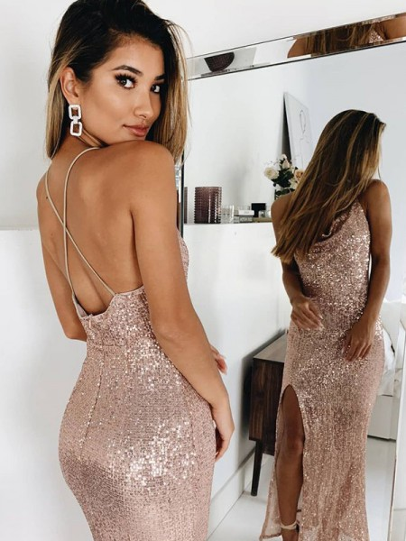 Mermaid/Trumpet Ruched Spaghetti Straps Sleeveless Sequins Ankle-Length Dress