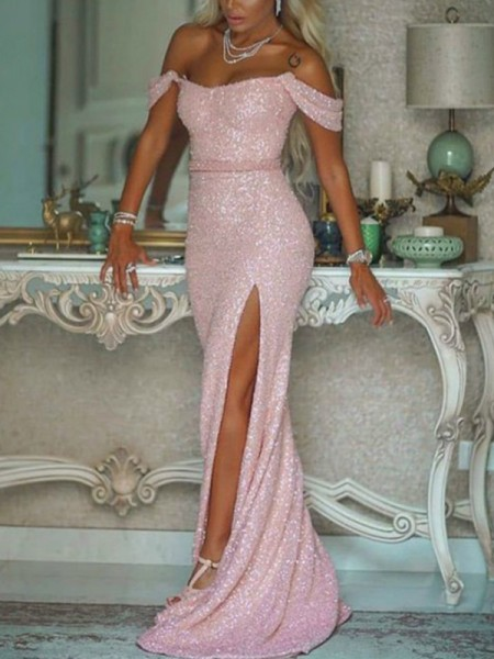 Mermaid/Trumpet Off-the-Shoulder Sequins Sleeveless Sash/Ribbon/Belt Long Dress