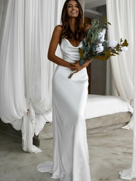 Sheath/Column Satin Ruched Spaghetti Straps Sweep/Brush Train Sleeveless Wedding Dress