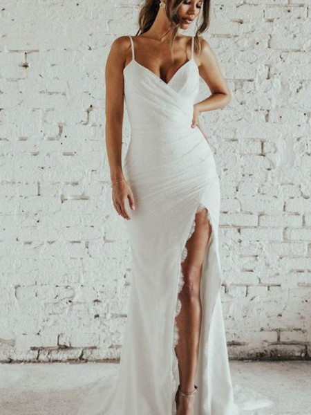 Double the Fun Sheath/Column Spaghetti Straps Ruched Sleeveless Spandex Long Wedding Dress