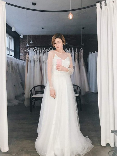A-Line Tulle Scoop Long Sleeves Sweep/Brush Train Wedding Dress with Beading