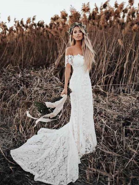 Mermaid/Trumpet Applique Off-the-Shoulder Short Sleeves Court Train Bride Dress with Lace