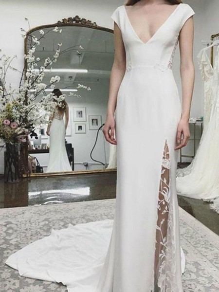 First Love Sheath/Column Satin V-neck Sleeveless Court Train Bride Dress with Lace