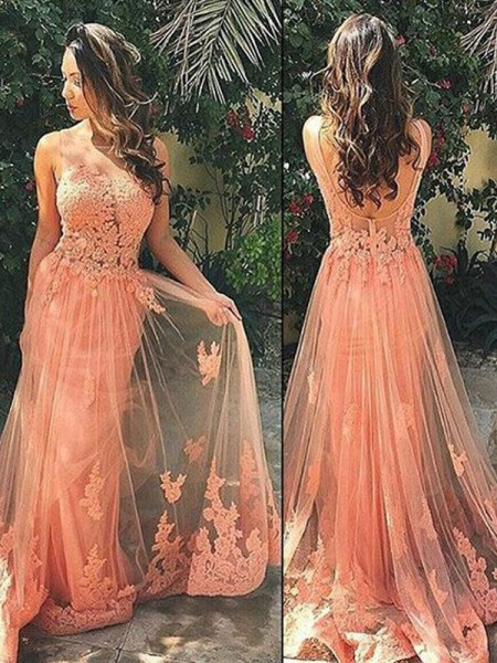 A-Line/Princess Straps Tulle Sweep/Brush Train Applique Dress