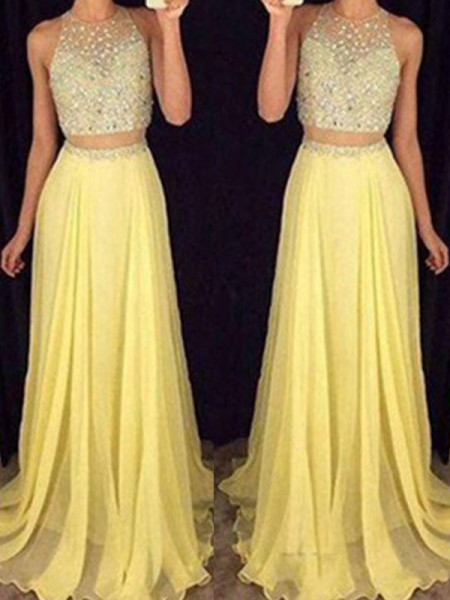 A-Line/Princess Sleeveless Scoop Floor-Length Beading Chiffon Two Piece Dresses