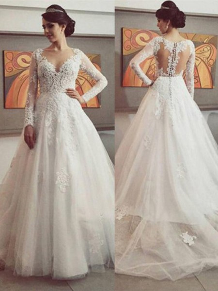 6a0cdf9db9790b Ball Gown V-neck Long Sleeves Lace Court Train Tulle Wedding Dress